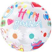 Шар (20''/51 см) Сфера 3D, Deco Bubble, С Днем Рождения! (цветы), Прозрачный, Кристалл, 1 шт. в упак