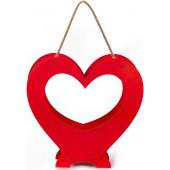 Декоративный ящик Сердце, Вензель, Красный, 26*11*25 см, 1 шт.