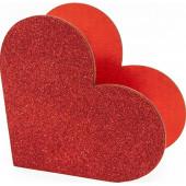 Декоративный ящик Сердце, Красный, с блестками, 20*10*19 см, 1 шт.