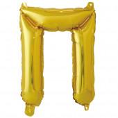 Шар с клапаном (16''/41 см) Мини-буква, П, Золото, 1 шт. в упак.