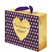 Пакет-коробка подарочный, От чистого сердца!, Фиолетовый/Золото, Металлик, 22*13*20 см, 1 шт.