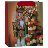Пакет подарочный, Щелкунчик и новогодняя елочка, Красный, с блестками, 32*26*13 см, 1 шт.