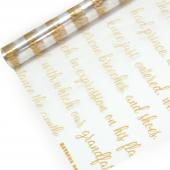 Упаковочная пленка (0,7*8 м) Рукопись, Золото, 1 шт.