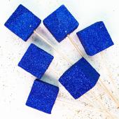Фигура из пенопласта Куб, Синий, Металлик, 3 см, с блестками, 6 шт.