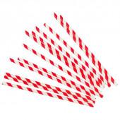Трубочки для коктейлей, Белые полоски, Красный, 12 шт.