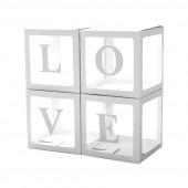 Набор коробок для воздушных шаров Love, Белые грани, 30*30*30 см, в упаковке 4 шт.