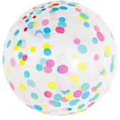 Шар (18''/46 см) Сфера 3D, Deco Bubble, Разноцветное конфетти, Прозрачный, Кристалл, 50 шт.