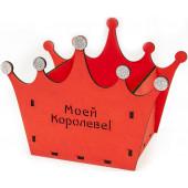 Декоративный ящик Корона, Моей Королеве, Красный, 21*13*16 см, 1 шт.