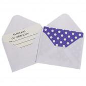 Открытка пригласительная, с конвертом, Белые точки, Фиолетовый, 12 шт.