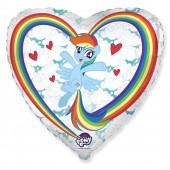 Шар (18''/46 см) Сердце, My Little Pony, Лошадка Радуга в облаках, Белый, 1 шт.