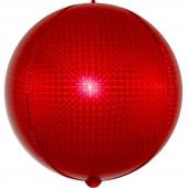 Шар (24''/61 см) Сфера 3D, Стерео, Красный, Голография, 1 шт.