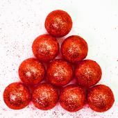Фигура из пенопласта Шар, Красный, Металлик, 3 см, с блестками, 10 шт.