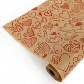 Упаковочная бумага, Крафт (0,7*10 м) Сердечки фигурные, Красный, 1 шт.