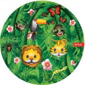 Тарелки (9''/23 см) Смайл, Emoji, Джунгли, Зеленый, 6 шт.