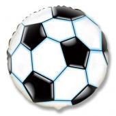 Шар (9''/23 см) Мини-круг, Футбольный мяч, Черный, 1 шт.