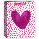 Пакет подарочный, Сердце, Розовый, с блестками, 32*26*12 см, 1 шт.