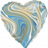 Шар (18''/46 см) Сердце, Мрамор, Золотая нить, Голубой, Агат, 1 шт.