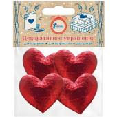 Декоративное украшение Сердце, Красный, Металлик, 3,5*3,1 см, 4 шт.