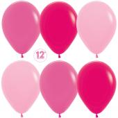 Шар (12''/30 см) Ярко-розовое ассорти (009/012/014), пастель, 50 шт.