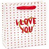 Пакет подарочный, Я Люблю Тебя (золотое сердце), Белый, Металлик, 20*20*8 см, 1 шт.