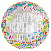 Шар (20''/51 см) Сфера 3D, Deco Bubble, С Днем Рождения! (листья), Прозрачный, 1 шт. в упак.