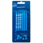 Свечи Точки и Полосы, Голубой / Белый, с держателями, 8 см, 6 шт