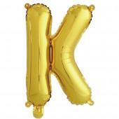 Шар с клапаном (16''/41 см) Мини-буква, К, Золото, в упаковке 1 шт.