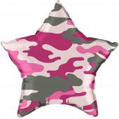Шар (21''/53 см) Звезда, Камуфляж, Розовый, 1 шт.
