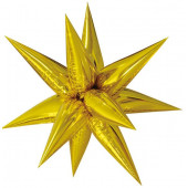 Шар (26''/66 см) Фигура, Звезда составная, Золото, в упаковке 1 шт.