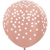 Шар (36''/91 см) Белое конфетти, Розовое золото (568), металлик, 5 ст, 1 шт.
