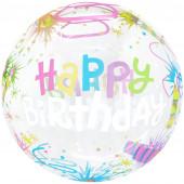 Шар (20''/51 см) Сфера 3D, Deco Bubble, С Днем Рождения! (свечи), Прозрачный, 1 шт. в упак.