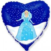 Шар (18''/46 см) Сердце, Снежная королева, 1 шт.
