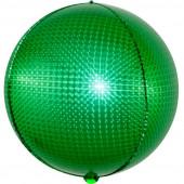 Шар (24''/61 см) Сфера 3D, Стерео, Зеленый, Голография, 1 шт.