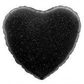 Шар (18''/46 см) Сердце, Черный, Голография, 1 шт.