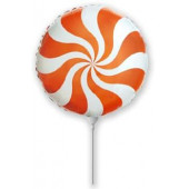 Шар (9''/23 см) Мини-круг, Леденец, Оранжевый, 1 шт.