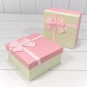 Набор коробок Элегантный бант, Розовый, 19*19*9 см, 3 шт.