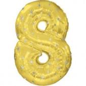 Шар (42''/107 см) Цифра, 8 Искры, Золото, 1 шт. в упак.