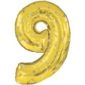 Шар (42''/107 см) Цифра, 9 Искры, Золото, 1 шт. в упак.