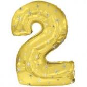 Шар (42''/107 см) Цифра, 2 Искры, Золото, 1 шт. в упак.