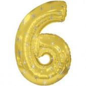 Шар (42''/107 см) Цифра, 6 Искры, Золото, 1 шт. в упак.