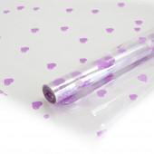 Упаковочная пленка (0,7*8 м) Сердечки, Сиреневый/Белый, 1 шт.