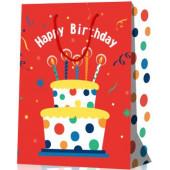 Пакет подарочный, Торт на День Рождения, Красный, 23*18*10 см, 1 шт.