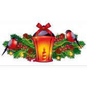 Плакат Фонарик со свечой и Снегири на ветке, 41 см