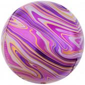 Шар (24''/61 см) Сфера 3D, Мраморная иллюзия, Фуше, Агат, 1 шт.
