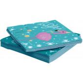 Салфетки, Фламинго, С Днем Рождения!, Бирюзовый, 33*33 см, 20 шт.