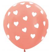 Шар (36''/91 см) Классические сердца, Розовое золото (568), металлик, 5 ст, 1 шт.