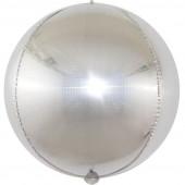 Шар (24''/61 см) Сфера 3D, Стерео Кристалл, Серебро, Голография, 1 шт.