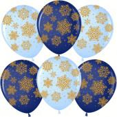 Шар (12''/30 см) Золотые снежинки, Ассорти, пастель, 5 ст, 25 шт.