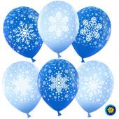 Шар (12''/30 см) Снежинки, Голубой (454)/Синий (250), пастель, 5 ст, 25 шт.