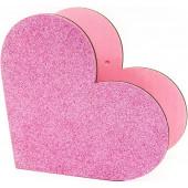 Декоративный ящик Сердце, Розовый, с блестками, 20*10*19 см, 1 шт.